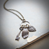 Vintage Style Key, Feather and Heart Long Necklace