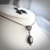 Faceted Black Onyx Edwardian Necklace and Earrings