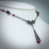 Garnet Crystal Lavalier Necklace