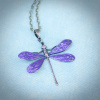 Purple Art Nouveau Dragonfly Pendant Necklace