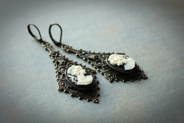 Long Vintage Style Black & Ivory Filigree Cameo Earrings