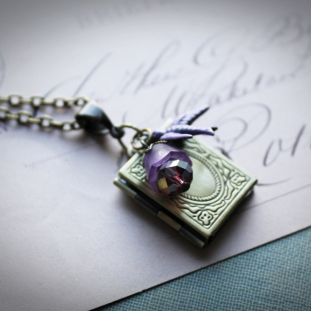 Vintage Style Book Locket Necklace in Violet