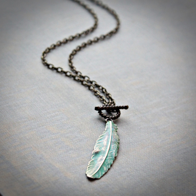 Feather Toggle Necklace in Brilliant Patina Finish