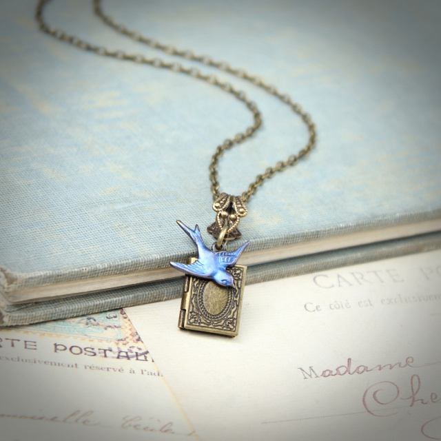 Miniature Book Locket - Mystic Blue Sparrow Necklace