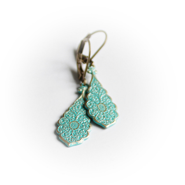 Plume - Peacock Earrings in Soft Turquoise