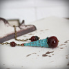 Red Agate Pendulum with Turquoise Patina