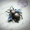 Frosty Blue Bee Brooch