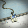 Blue Tulip and Sparrow Book Locket Necklace