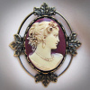 Lady Emily Small Burgundy Cameo Brooch/Pendant