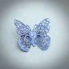 Mystic Blue Filigree Butterfly Brooch