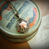 Filigree Locket Neclace in Powder Puff Pink