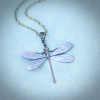 Light Frosty Purple Art Nouveau Dragonfly Pendant Necklace