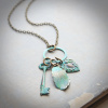 Key, Feather and Heart Long Patina Necklace