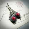 Red Rose Cameo Earrings in Filigree