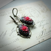 Vintage Style Red Rose Cameo Earrings