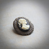 Small Black & Ivory Cameo Brooch/Pendant
